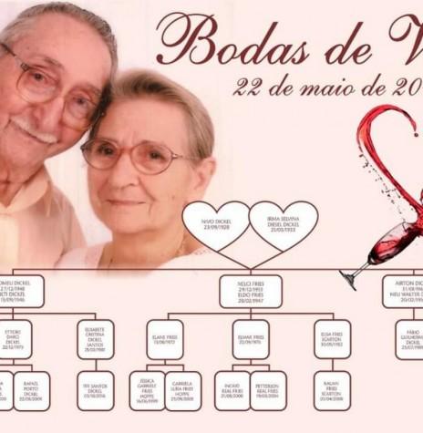 Convite para a Bodas de Vinho do casal pioneiro de Marechal Cândido Rondon, Irma Selvina (nascida Diesel) e Nivo Dickel.  Imagem: Acervo Dirlene Dickel - FOTO 11 -