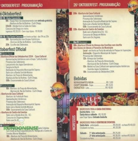 Programação da 26ª Oktoberfest de Marechal Cândido Rondon. Imagem: Facebook – FOTO 6 -