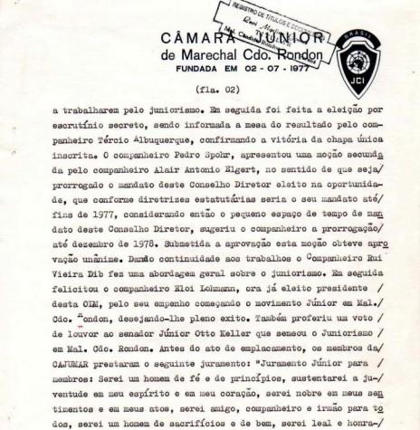 Página 2 da ata de fundação da JCI Marechal Cândido Rondon.  Imagem: Acervo JCI - FOTO 11 -