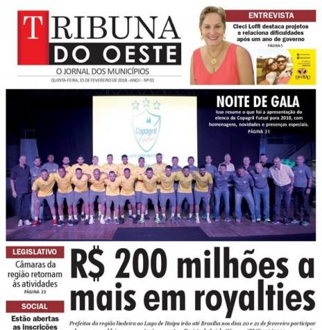 Capa da primeira edição do jornal Tribuna do Oeste.  Imagem: Acervo do jornal - FOTO 6 -