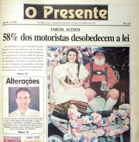 Capa da primeira edição colorida do jornal O Presente, que circulou no dia 24 de outubro de 1997. Imagem: Acervo O Presente - FOTO 6 -
