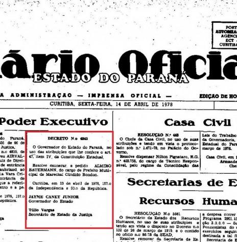 Página inicial (parte) do Diário Oficial nº 280, de 14 de abril de 1978, que publicou o decreto governamental de exoneração, a pedido, o senhor Almiro Bauermann, como prefeito municipal de Marechal Cândido Rondon.  Imagem: Acervo Arquivo Público do Paraná - FOTO 2 -