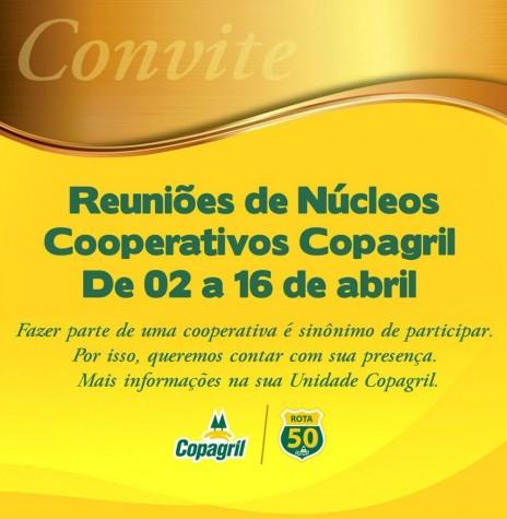 Convite da Copagril para as reuniões dos núcleos cooperativos 2019.  Imagem: Acervo Comunicação Copagril - FOTO 8  -