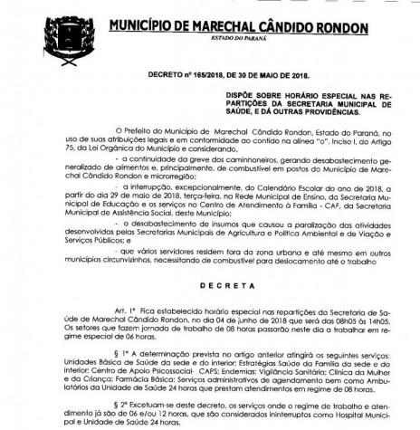 Decreto nº 165/2018 que alterou o horário de funcionamento das repartições públicas municipais da Prefeitura Municipal de Marechal Cândido Rondon . Imagem:  PM - Marechal Cândido Rondon - FOTO 8 -