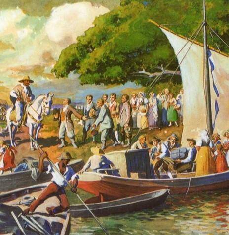 Imigrantes alemães chegando em São Leopoldo.  Tela de Ernst Zeuner (1895-1967).  Acervo Museu Visconde de São Leopoldo - FOTO 2-