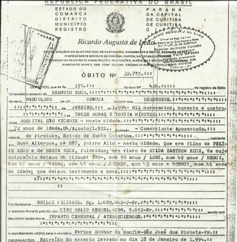 Cópia da certidão de óbito do pioneiro rondonense Helmuth Koch.  Imagem: Acervo de Clelia Regina Ritter - FOTO 24-