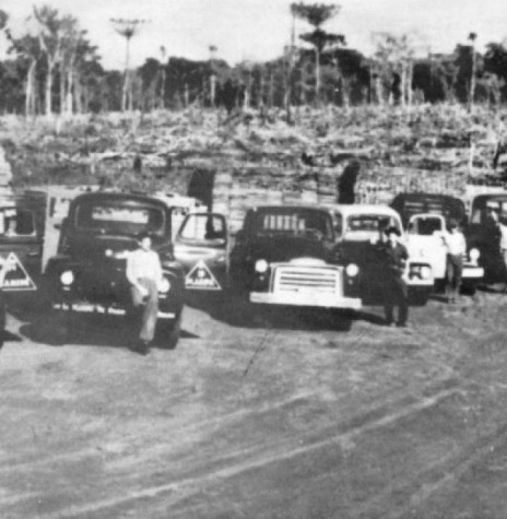 Frota de caminhões da Maripá, por volta de 1956,  usada no transporte de madeira serrada, grande dela exportada para a Argentina, via Porto Britânia. Imagem: Acervo Orlando e Rafael Sturm - FOTO 1 -