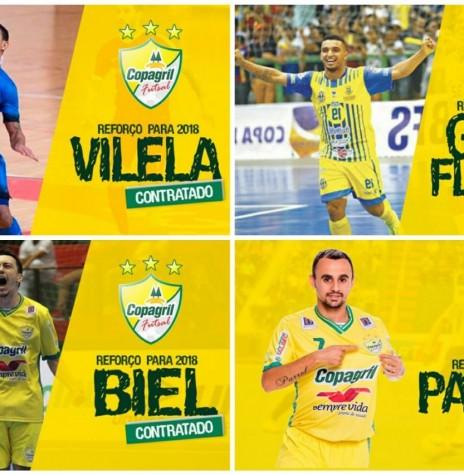 Quadro com as imagens dos jogadores contratados pela Copagril Futsal para a temporada 2018, anunciados no dia 02 de janeiro.   Imagens: Acervo Imprensa Copagril - Montagem: Tioni de Oliveira - FOTO 11 -
