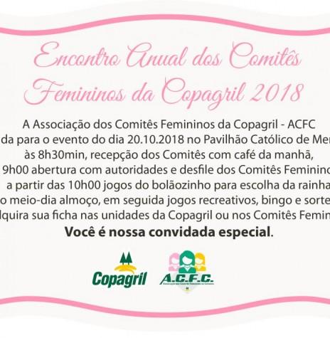 Convite para o 18º Encontro da ACFC 2018.  Imagem: Acervo Comunicação Copagril   - FOTO 22 -