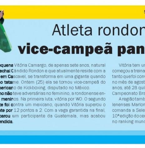 Atleta Vitória Camargo vice-campeã do Campeonato Pan-americano de Kickboxing no México.  Imagem: Acervo O Presente - FOTO  11 -
