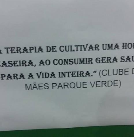 Frase premiada no Concurso de Hortas Caseiras e Frases 2018, de Entre Rios do Oeste.  Imagem: Acervo  Imprensa Prefeitura. - FOTO 7 -