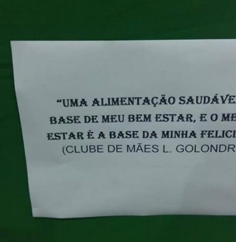 A frase do Clube de Mães da Linha Golondrina premiada no Concurso de Hortas Caseiras, de Entre Rios do Oeste.  Imagem: Acervo Imprensa Prefeitura Municipal - FOTO 9 -