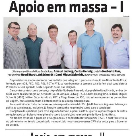 Grupo de dirigentes multipartidário de Nova Santa Rosa de apoio à candidadatura de Jair Bolsonaro à Presidência da República.  Acervo: O Presente - FOTO 6 -