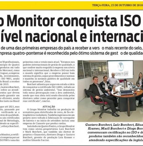 Destaque do jornal O Presente referente a certificação do Grupo Monitor, da cidade de Quatro Pontes.  Imagem: Acervo O Presente - FOTO 14 -