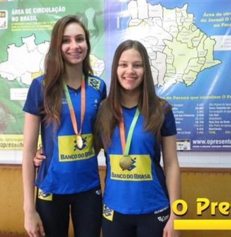 Larissa Besen e Júlio Moreira Gobs atletas rondonenses de vôlei medalhistas de ouro no campeonato Sul-Americano, em Lima, Perú.  Imagem: Acervo O Presente Crédito: Joni Lang