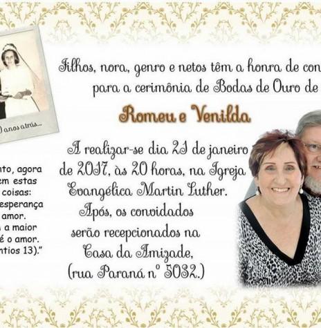 Convite para a celebração das Bodas de Ouro do casal Romeu e Venilda Saatkamp.  Imagem: Acervo do casal no Facebook - FOTO 4 -