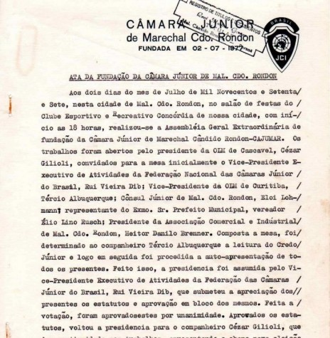 Ata de fundação da JCI - Marechal Cândido Rondon - página um.  Imagem: Acervo JCI - FOTO 10 -