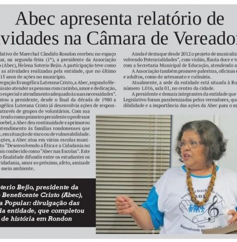 Destaque no jornal O Presente ref. a apresentação do relatório da ABEC na Câmara Municipal de Marechal Cândido Rondon.  - FOTO 18 -