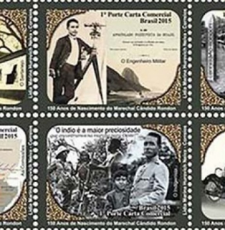 Sextilha de seis selos em homenagem aos 150 anos de nascimento do Marechal Cândido Mariano da Silva Rondon. Imagem: Acervo Joficur – FOTO 5 -