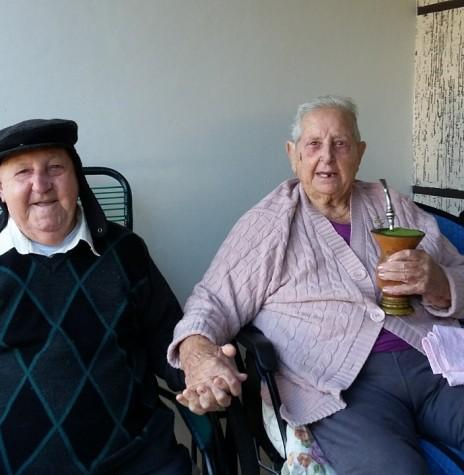 Casal Francisco Vilma e Osvino Ernesto Wolfart na comemoração de suas Bodas de Brilhante, em 2018.  Imagem: Acervo Inge Wolfart - FOTO 11 -