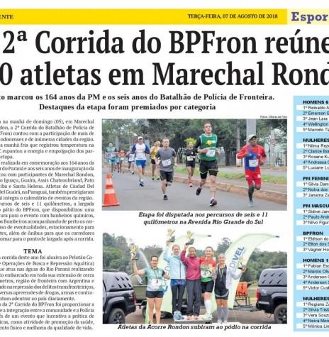 Destaque do jornal O Presente sobre a 2ª Corrida do BPFron, realizada no começo de agosto de 2018.  Imagem: Acervo do jornal - FOTO 14 -