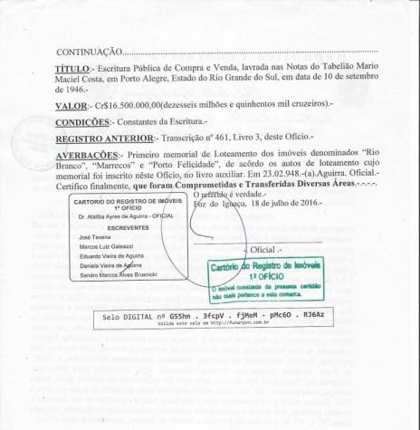 Certidão (segunda página) da transmissão da antiga Fazenda Britânia a Companhia de Maderas del Alto Paraná pelo governo do Estado do Paraná.  Imagem: Acervo Memória Rondonense - FOTO 4 -