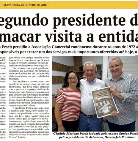 Registro de Cândido Mariano Persch  à Acimacar, em abril de 2018.  Imagem: Acervo O Presente - FOTO 8 -