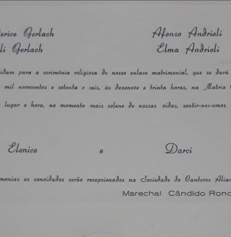Convite de casamento dos jovens rondonenses Elenice Gerlach e Darci Andrioli, em setembro de 1976.  Imagem: Acervo Juliano Andrioli - FOTO 2 -