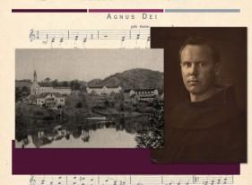 Frei Pedro Sinzig, foto em composição com uma vista antiga da cidade de Blumenau. Imagem: Acervo ArchivLinz - Alemanha.