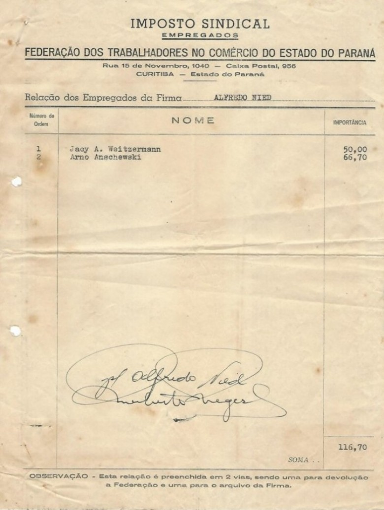 Lista nominativa dos dois empregados para o pagamento do Imposto Sindical, exercício 1955.  Imagem: Acervo Walmor Nied