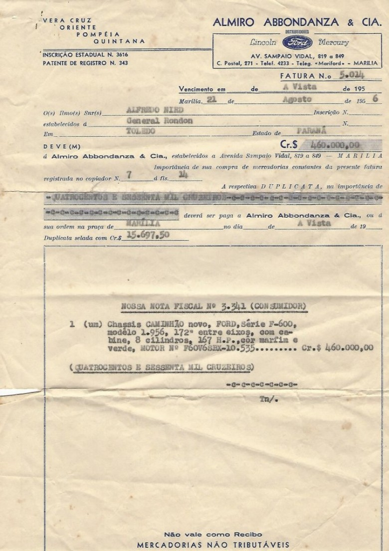 Nota fiscal da compra do primeiro caminhão Ford - F 600 pelo pioneiro Alfredo Nied.  Imagem: Acervo Walmor Nied
