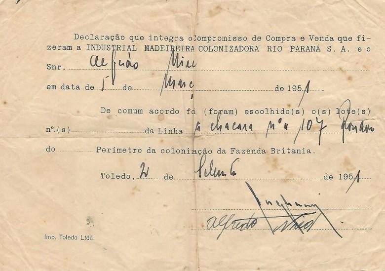 Declaração de comum acordo entre a Maripá e o senhor Alfredo Nied referente a compra da chácara nº 107.  Imagem: Acervo Walmor Nied
