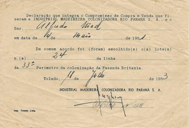 Declaração celebrado entre o senhor Alfredo Nied e a Maripá confirmando a escolha do lote 24 do perímetro 33.  Imagem: Acervo Walmor Nied