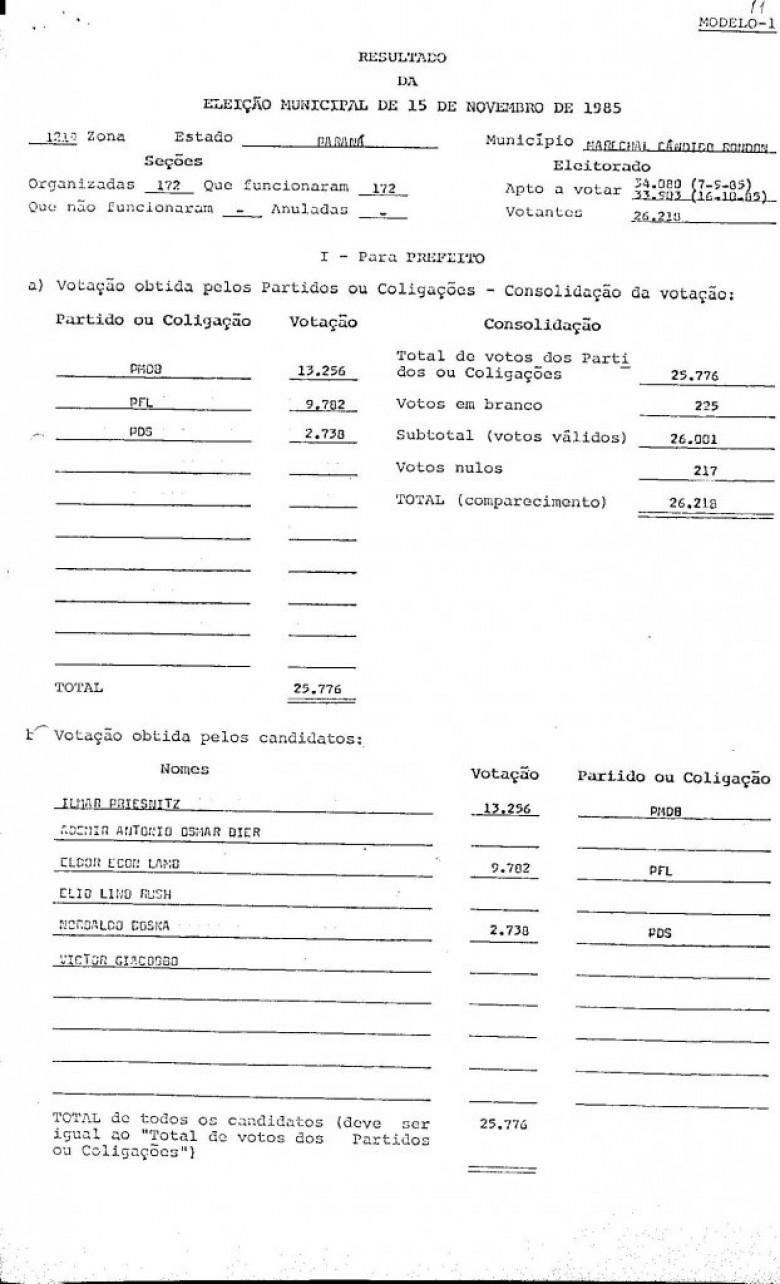 Planilha do TRE/PR ref. eleição de prefeito e vice-prefeito de Marechal Cândido Rondon, de 15 de novembro de 1985.