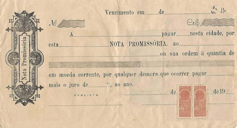 Modelo de nota promissória usada na época, já contendo os selos de pagamento de taxas públicas.  Image: Acervo Walmor