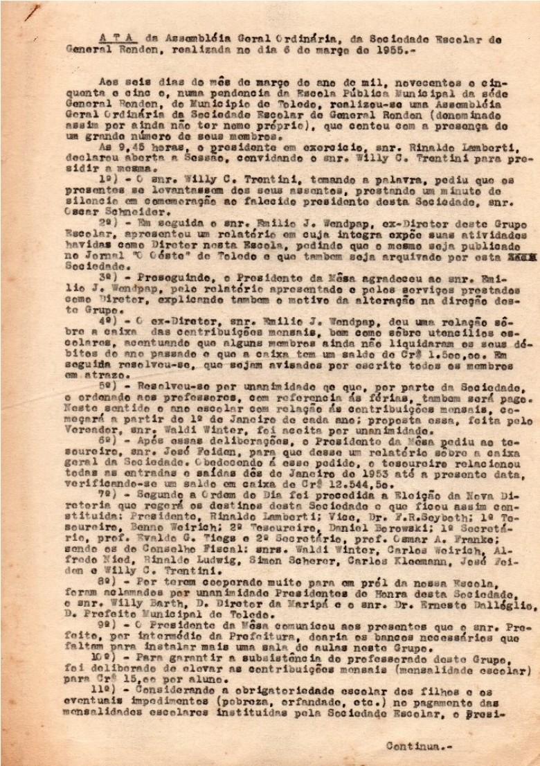 Ata de folha 1 da Assembleia  Geral Ordinária da então Sociedade Escolar de General Rondon, realizada em 06 de março de 1955.