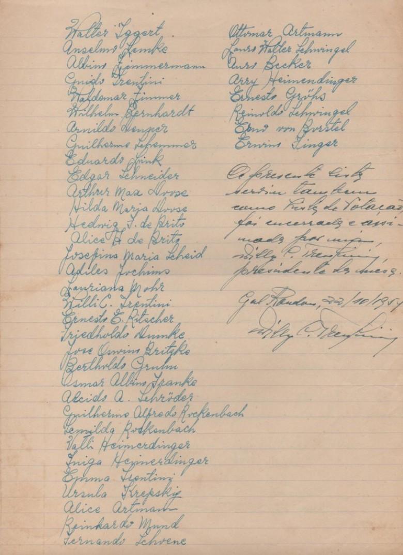 Continuidade das assinaturas dos moradores rondonenses presentes na escolha da pessoa para inspetor de polícia.
