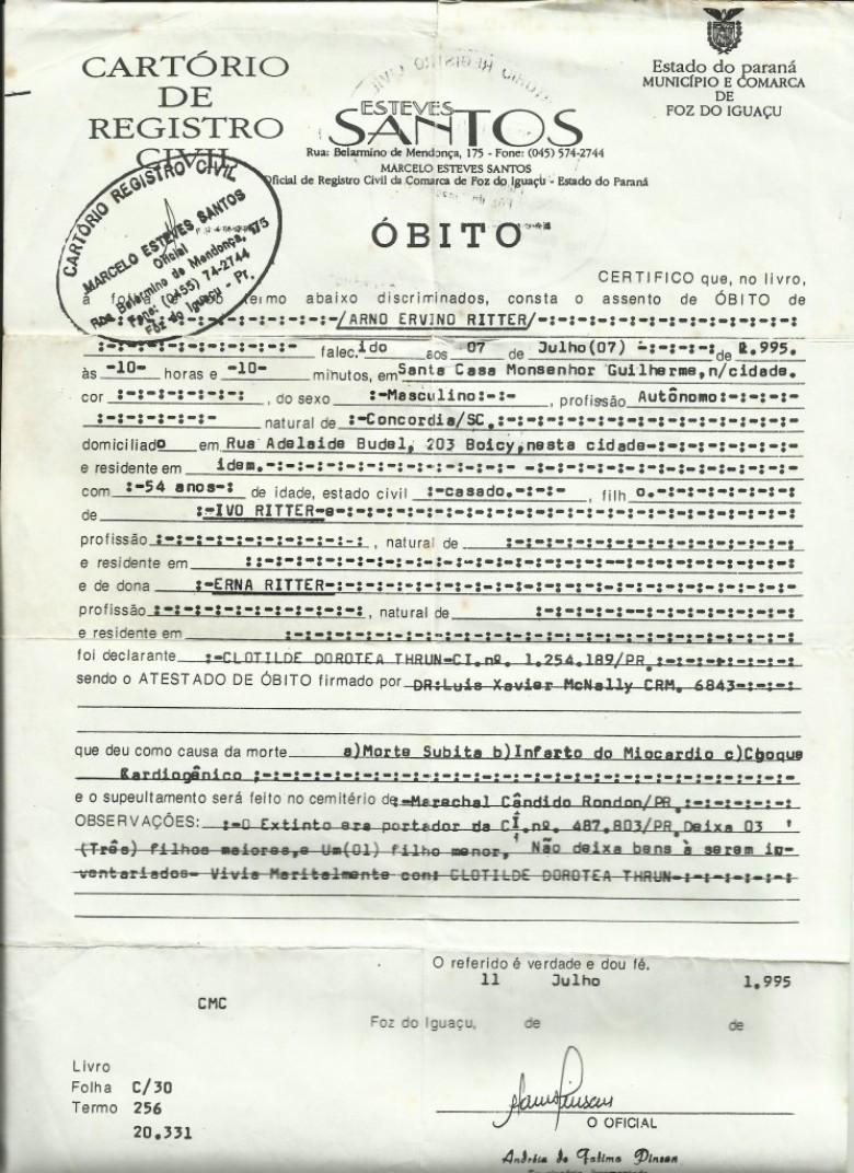Certidão de óbito de Arno Ervino Ritter que foi casado com Nercy Koch.  Imagem: Acervo Clélia Regina Ritter