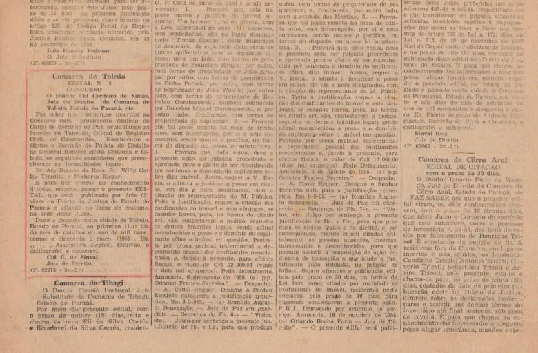 Publicação no Diário Oficial com os nomes dos inscritos para exercerem o cargo de Escrivão de Paz, no então distrito de General Rondon.