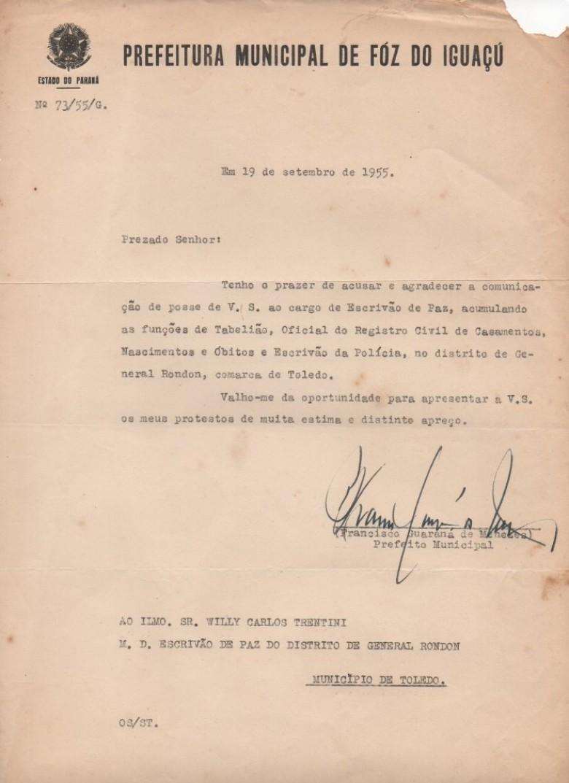 Cópia da correspondência do Prefeito Municipal de Foz do Iguaçu onde agradece  a comunicação de posse como cartorário em General Rondon.