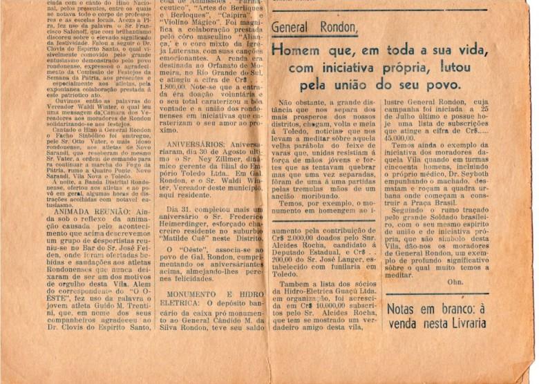 Página (inferior) no extinto jornal