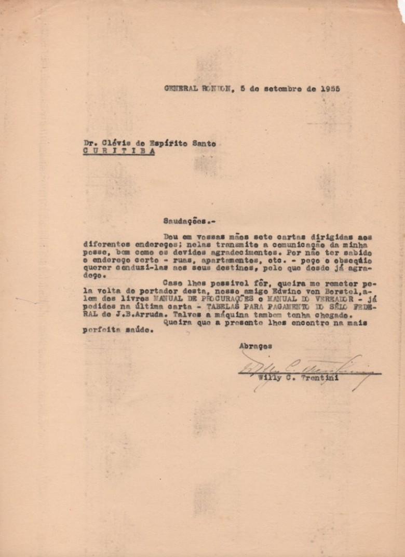 Correspondência do cartorário Willy Carlos Trentini para o ex-promotor da comarca de Toledo, pedindo apoio na providência de publicações.