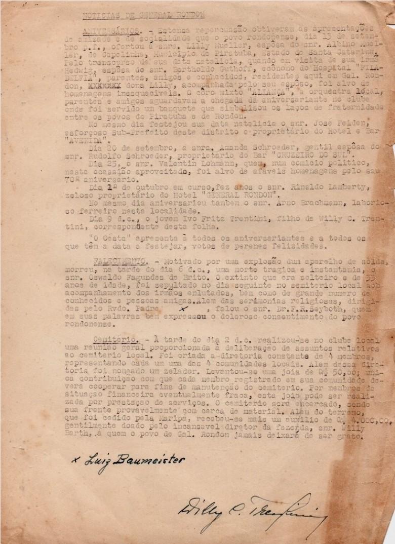 Pauta de notícias elaborada pelo senhor Willy Carlos Trentini para ser publicada no jornal