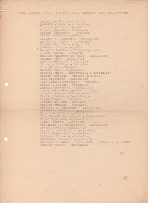 Lista nominativa (continuidade)  de rondonenses subscreventes do abaixo-assinado pleiteando a instalação do Cartório de Registro Civil.