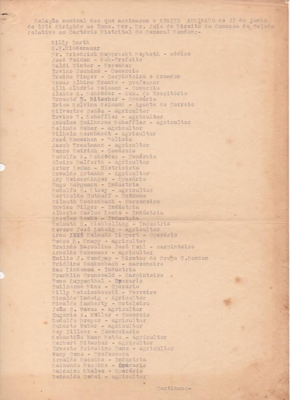 Lista nominativa de rondonenses subscreventes do abaixo-assinado pleiteando a instalação do Cartório de Registro Civil.