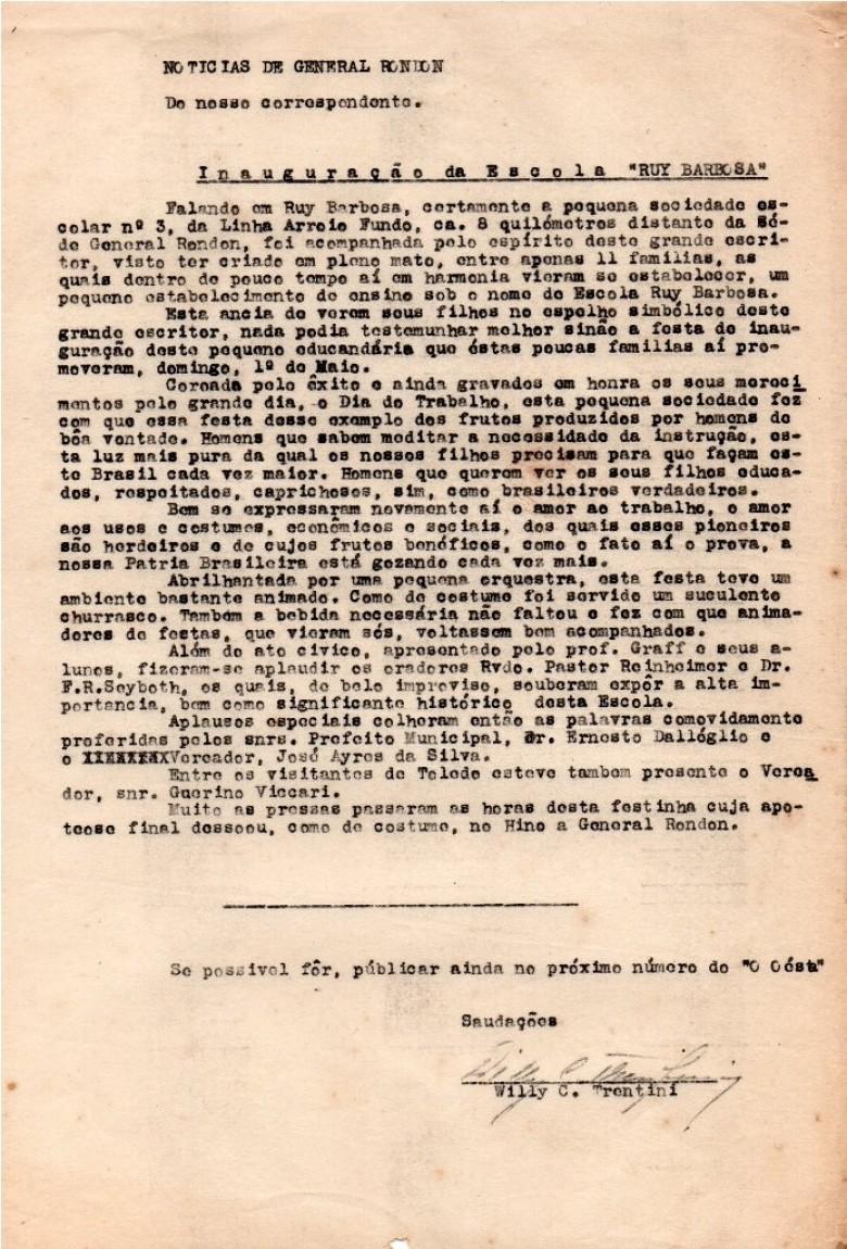 Nota produzida pelo então correspondente jornalístico Willy Carlos Trentini para o extinto jornal