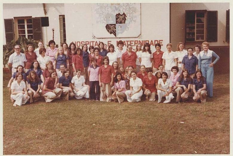 Funcionários do Hospital  e Maternidade  Filadélfia, em 1976.
