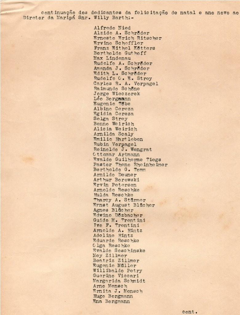 Continuação do rol de nomes de moradores rondonenses pioneiros subscritores da mensagem de Natal e de Ano Novo ao senhor Willy Barth.