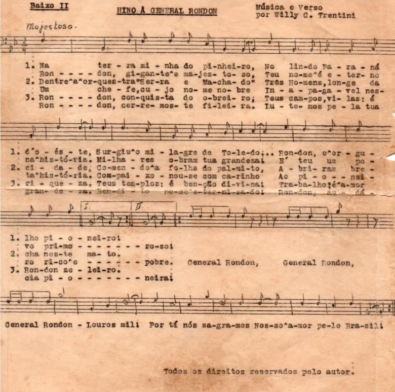 Partitura original para Baixo II.