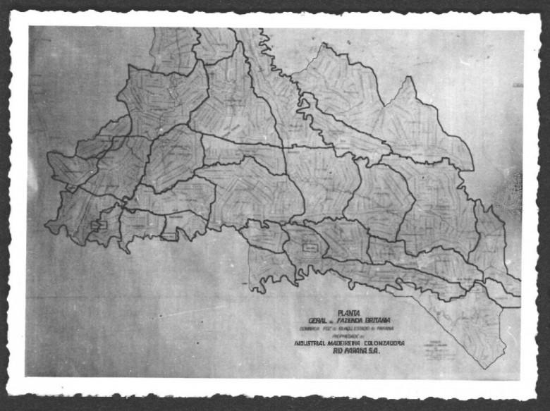 Mapa da gleba Fazenda Britânia na MARIPÁ, Madeiras Rio Paraná Ltda.